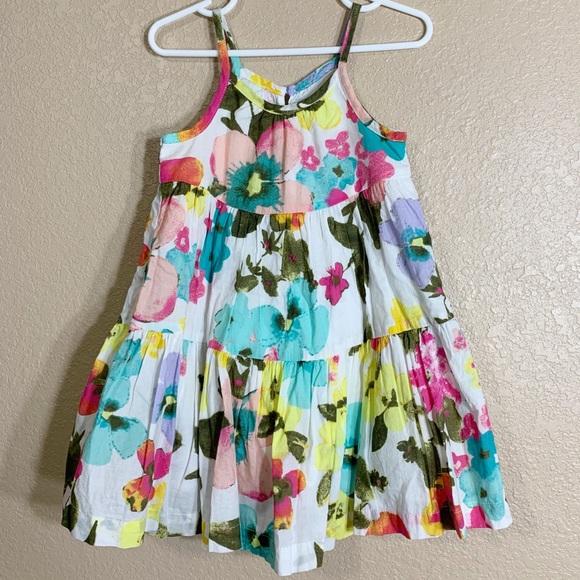 Old Navy Toddler Girls Dress Size 3T Black Floral Print Short Ruffled Sleeves